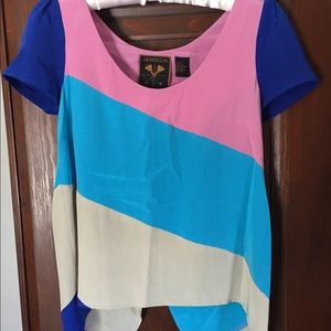 Jamison 100% Silk Colorblock Top